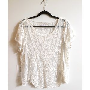Xhiliration Lace Top Ivory Blouse Size XXL